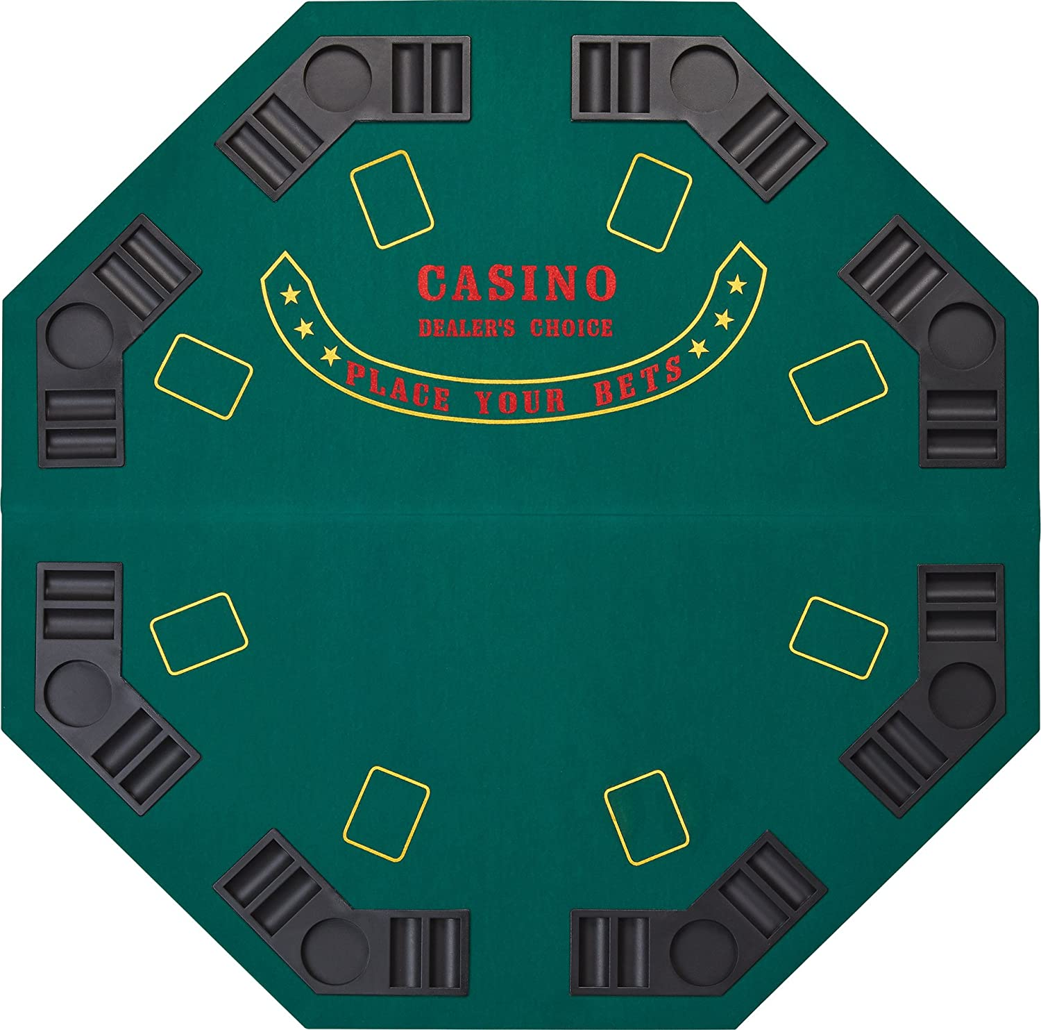 Blackjack table top view - Amazon Com Fat Cat Folding Blackjack Poker Game Table Top Octagon Layout 8 Player Poker Table Tops Sports Outdoors
