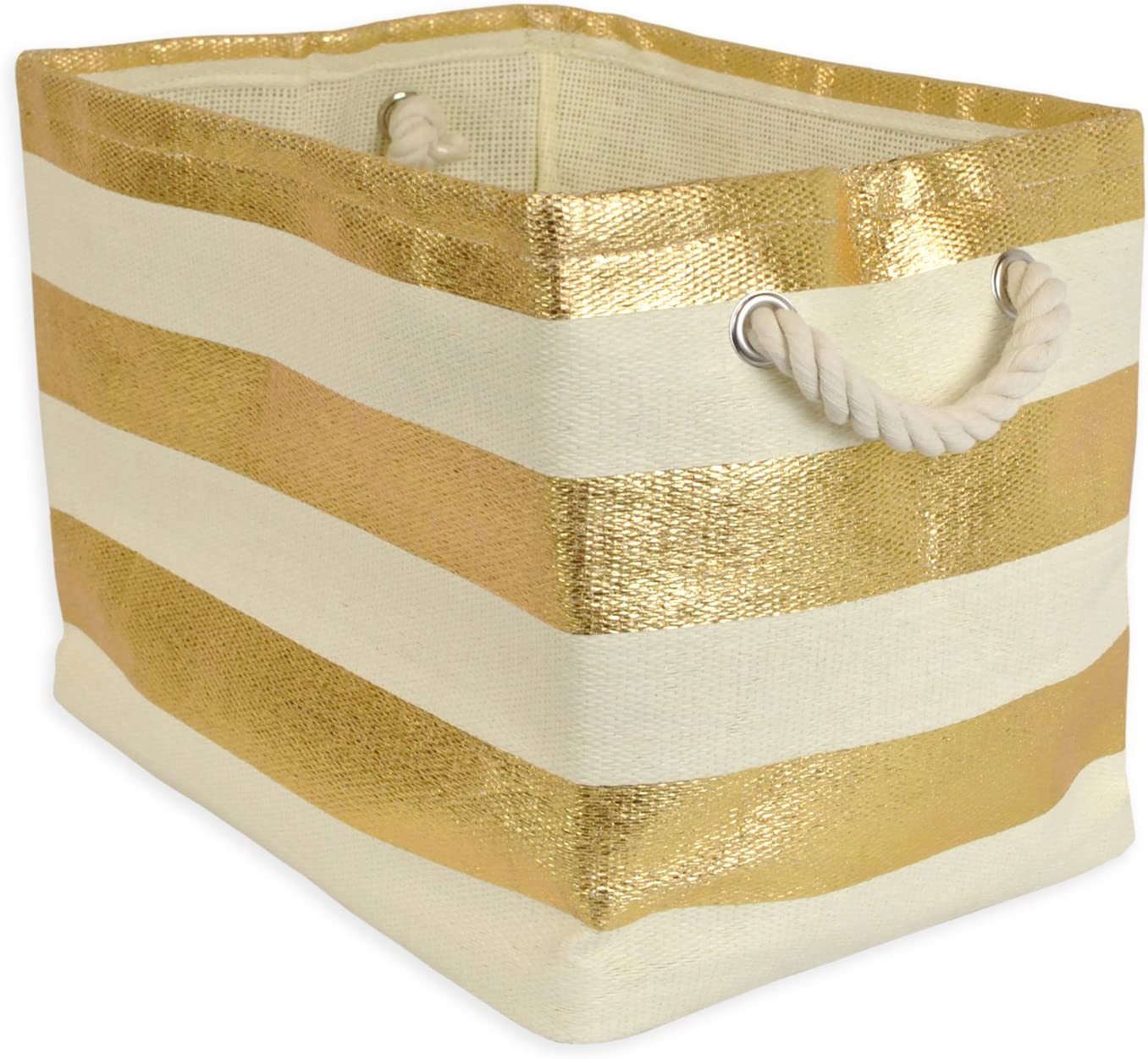 "DII Oversize Woven Paper Storage Basket or Bin, Collapsible & Convenient Home Organization Solution for Office, Bedroom, Closet, Toys, & Laundry (Large – 17x15x12""), Gold Rugby Stripe (CAMZ35705)"