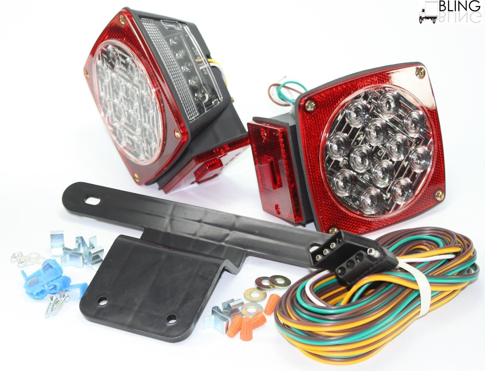 Waterproof Submersible Jeep TJ CJ YJ JK replacement Trailer Boat Truck Stop Turn Tail LED Lights w Kit & License Illuminator Sealed by blingbling