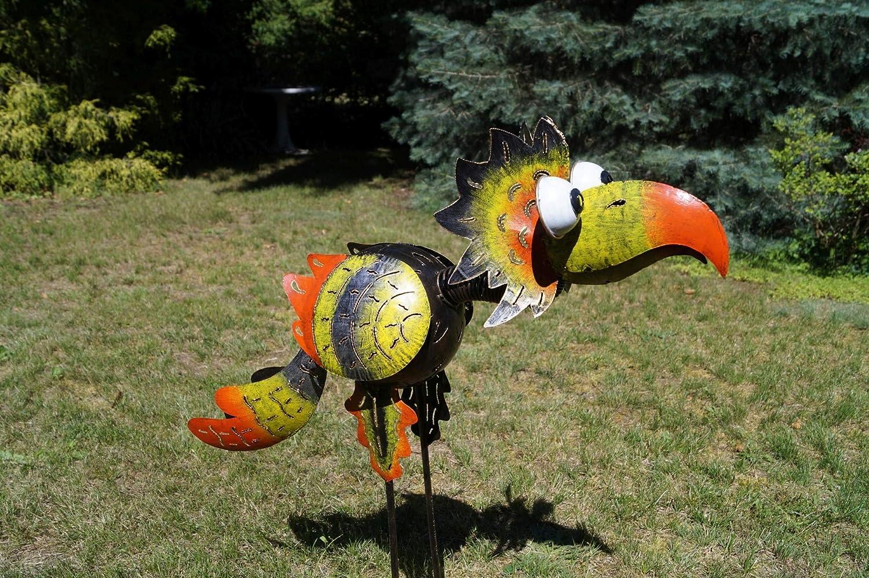 Amicaso Windlicht gro/ßer Vogel Gartendeko aus Metall Windspiel Wackelkopf mit Klappe f/ür Teelicht,Kerze oder Lichterkette Wetterfest Handarbeit H/öhe ca 80cm