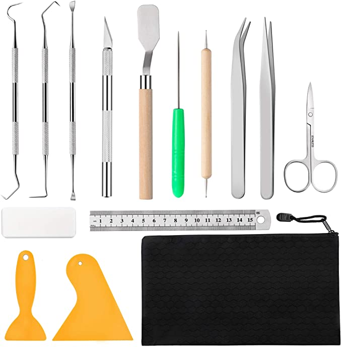 Craft Vinyl Weeding Tool Kit 5 Pieces Precision Stainless Steel Tools with Tin Box for Permanent Adhesive Vinyl and HTV