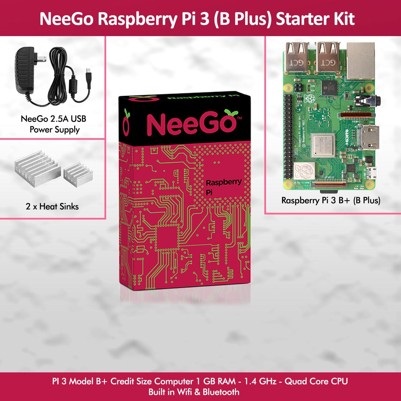 NeeGo Raspberry Pi 3 B+ (B Plus) Starter Kit – Pi 3 Model B Barebones Computer Motherboard with 64bit Quad Core CPU & 1GB RAM, 2.5A Power Supply & Heatsink 2-Pack by NeeGo (Image #2)