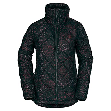 77fce3d3d53ee4 Volcom Women's Skies Down Puff Lined Snow Jacket, Black Floral Print, Extra  Small