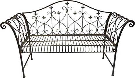 32f4fd1382fc0 Vintage Look Metal Outdoor Garden Bench with Ornamented High ...