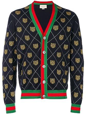 e96c428efff5 (グッチ) GUCCI Tiger argyle knit cardigan メンズ トップ スカーディガン (並行輸入品