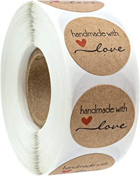 1 Inch Round Natural Kraft Homemade with Love Stickers 500 Labels per roll
