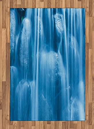 Amazon Com Lunarable Waterfall Area Rug Nature Freezing Cold