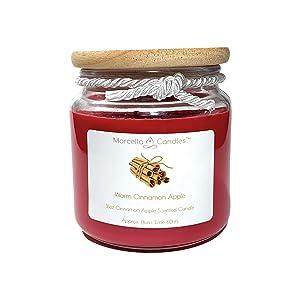 Cinnamon Apple Candle, 16oz Warm Cinnamon Apple 3 Wick Candle, Warm Scented Candle, Candle Set Includes 16oz Cinnamon Apple Scented Candle & Marcella Mini Soy Candle by Marcella Candles (Warm Cinnamon