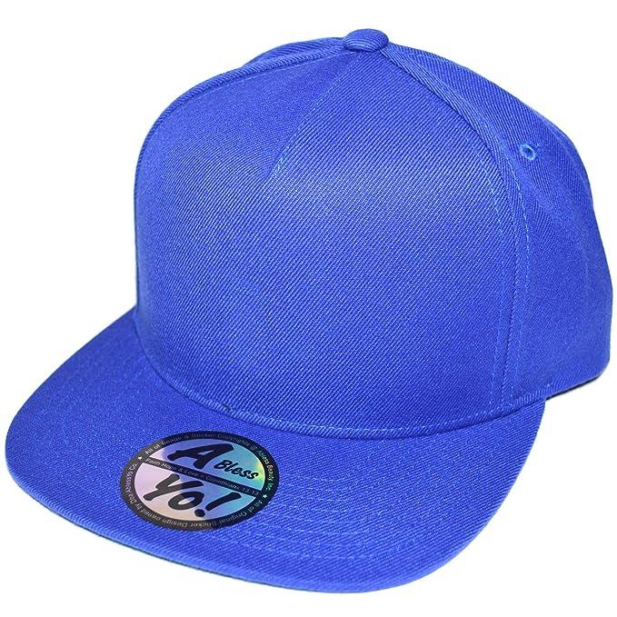 10773590691 Unisex 5 Panel Snapback Twill Bill Flat Plain Cap Baseball Hat Adjustable  AYO1043 (BLUE)