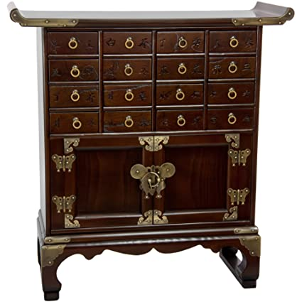 Oriental Furniture Korean Antique Style 16 Drawer Medicine Chest - Amazon.com: Oriental Furniture Korean Antique Style 16 Drawer