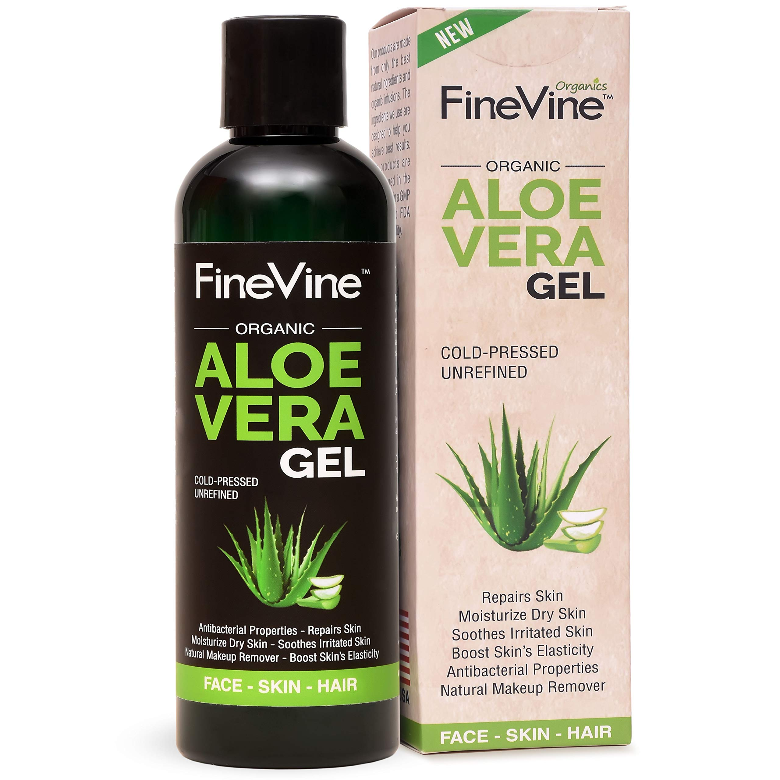 Best Aloe Vera Gel - Made in USA - for Skin Burn, Sunburn, Acne, Razor Bumps, Psoriasis, Eczema, Face and Hair - Absorbs Fast with No Sticky Residue. by FineVine