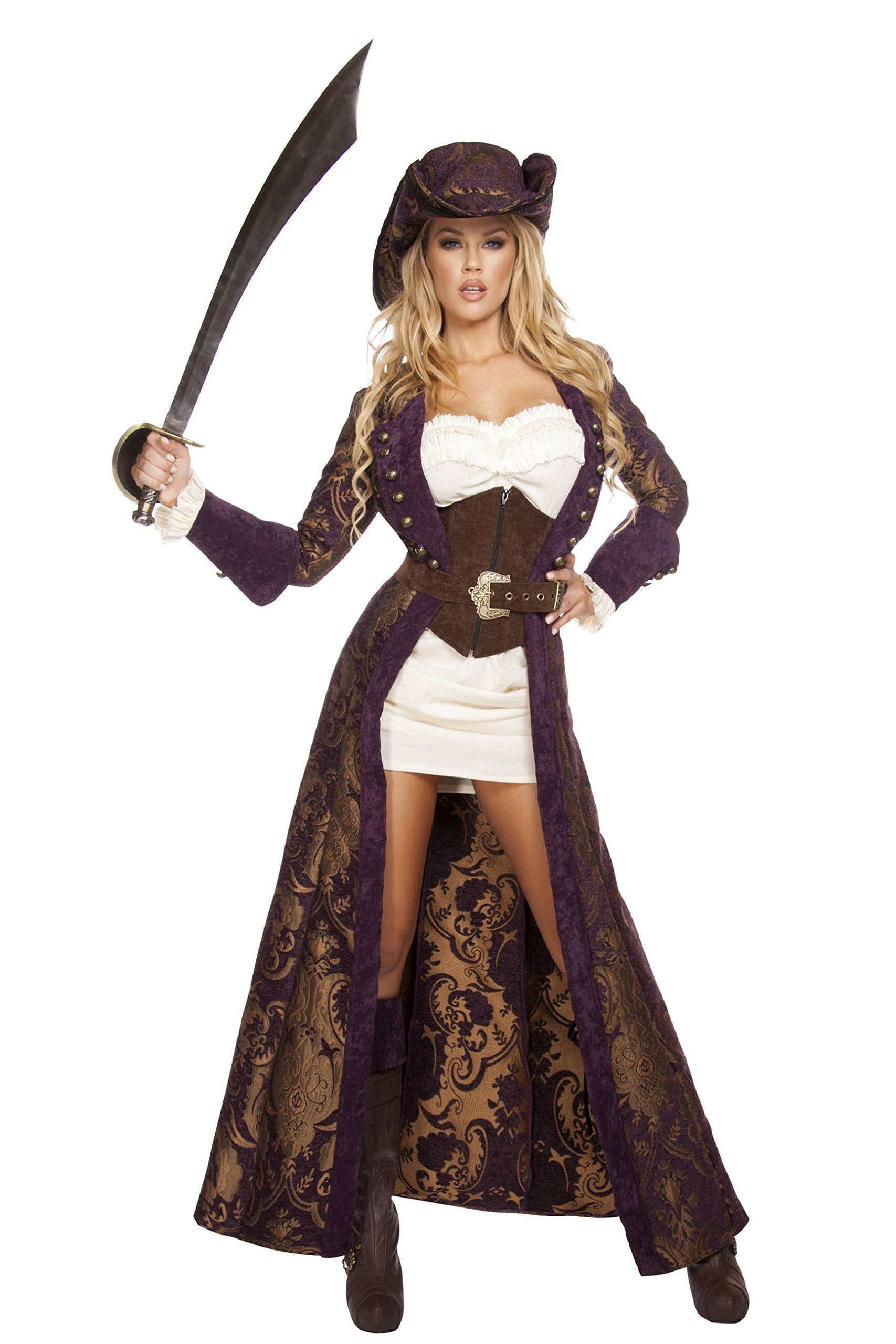 Roma Costume Women's 6 Piece Decadent Pirate Diva, Brown/Purple/White, Small by Roma Costume