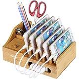 NexGadget 竹製充電スタンド 和風 収納型充電スタンド 電子製品をきれいに揃える座式充電器 チャージャーステーション 多機能の筆立て