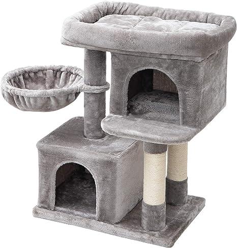 IBUYKE Árbol para Gato 84cm Torre de Escalada con Plataformas, Cesta Flotante, Caseta para Gatos, Poste De Rascar De Sisal Natural, Gris Claro CT010W