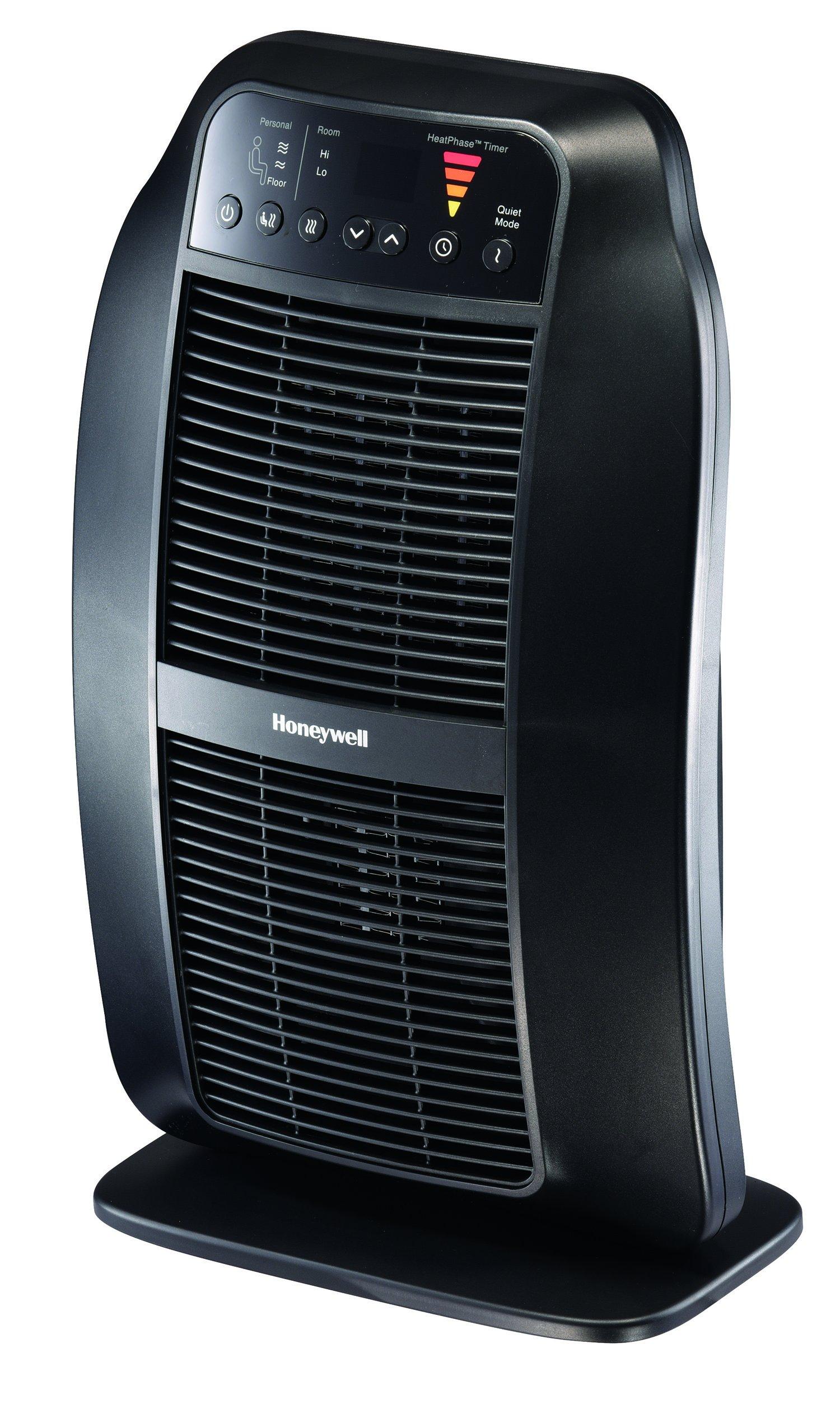 Honeywell HCE840B HeatGenius Ceramic Heater Black Energy Efficient 1500 Watt Custom Comfort with 6 Heat Settings, Quiet Mode & Auto-Off Heat Phase Timer for Home, School or Office by Honeywell