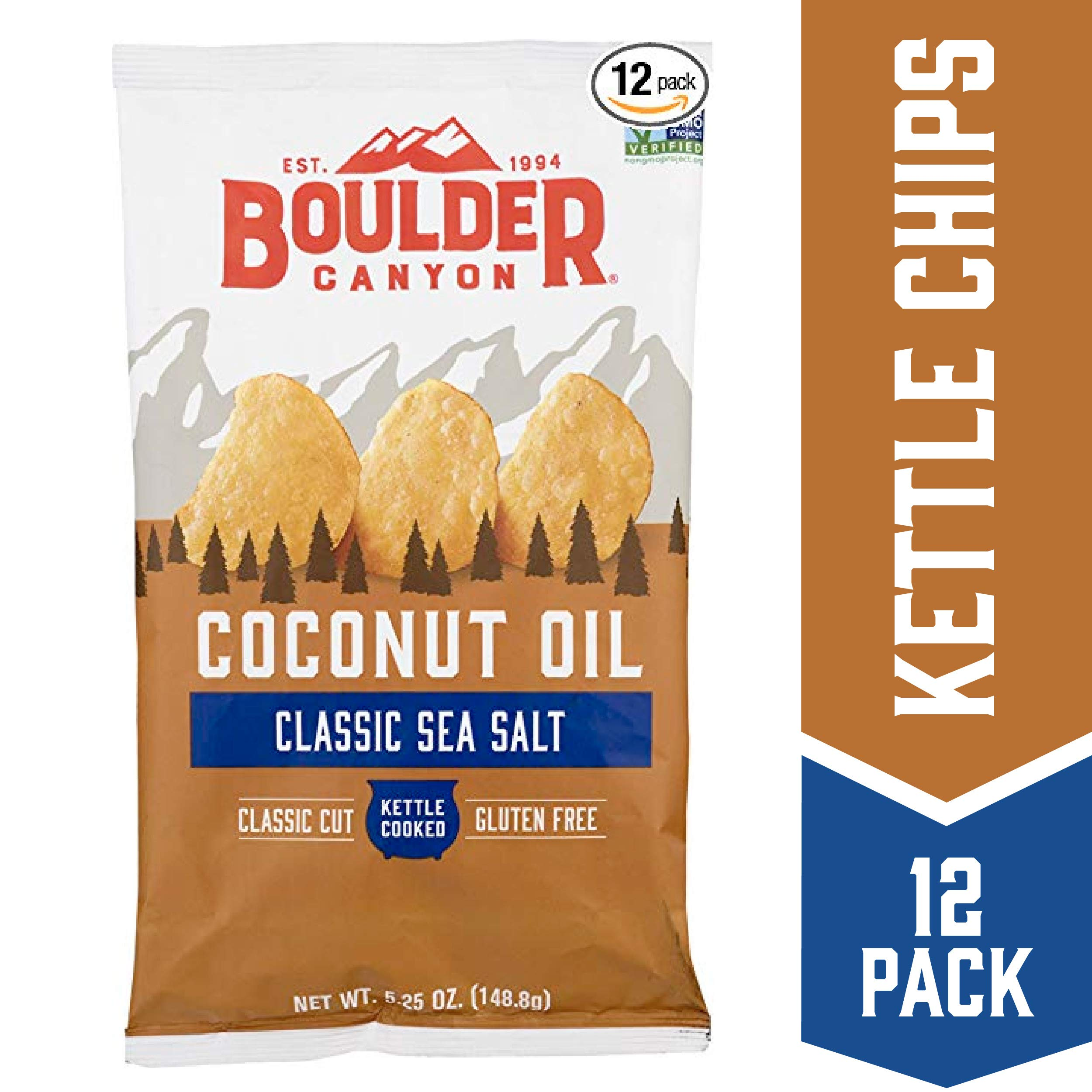 Boulder Canyon Coconut Oil Kettle Cooked Potato Chips, Sea Salt, Gluten Free, Crunchy Chips Cooked in 100% Coconut Oil, Perfect for Dipping, Great for Lunches or Snacks, 5.25 Ounce, Pack of 12 by Boulder Canyon