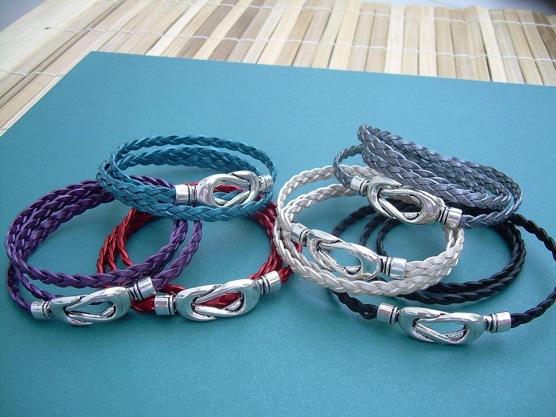 Purple Leather Triple Wrap Wristband Bracelet Necklace Magnetic Catch