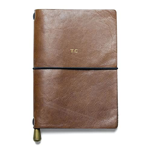 13c65bb34f Personalised Leather Travel Journal Notebook A6 Gift for Men  Amazon.co.uk   Handmade