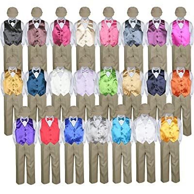 b5242cc49 5pc Baby Toddler Kid Boy Party Suit KHAKI Pants Shirt Vest Bow tie Hat Set  Sm