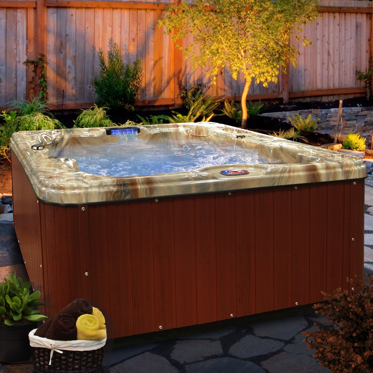 amazoncom american spas am730lm 6person 30jet lounger spa with backlit led waterfall tuscany sun and mahogany garden u0026 outdoor