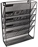 EasyPAG Mesh Wall Mounted File Holder Organizer Literature Rack 5 Compartments Black
