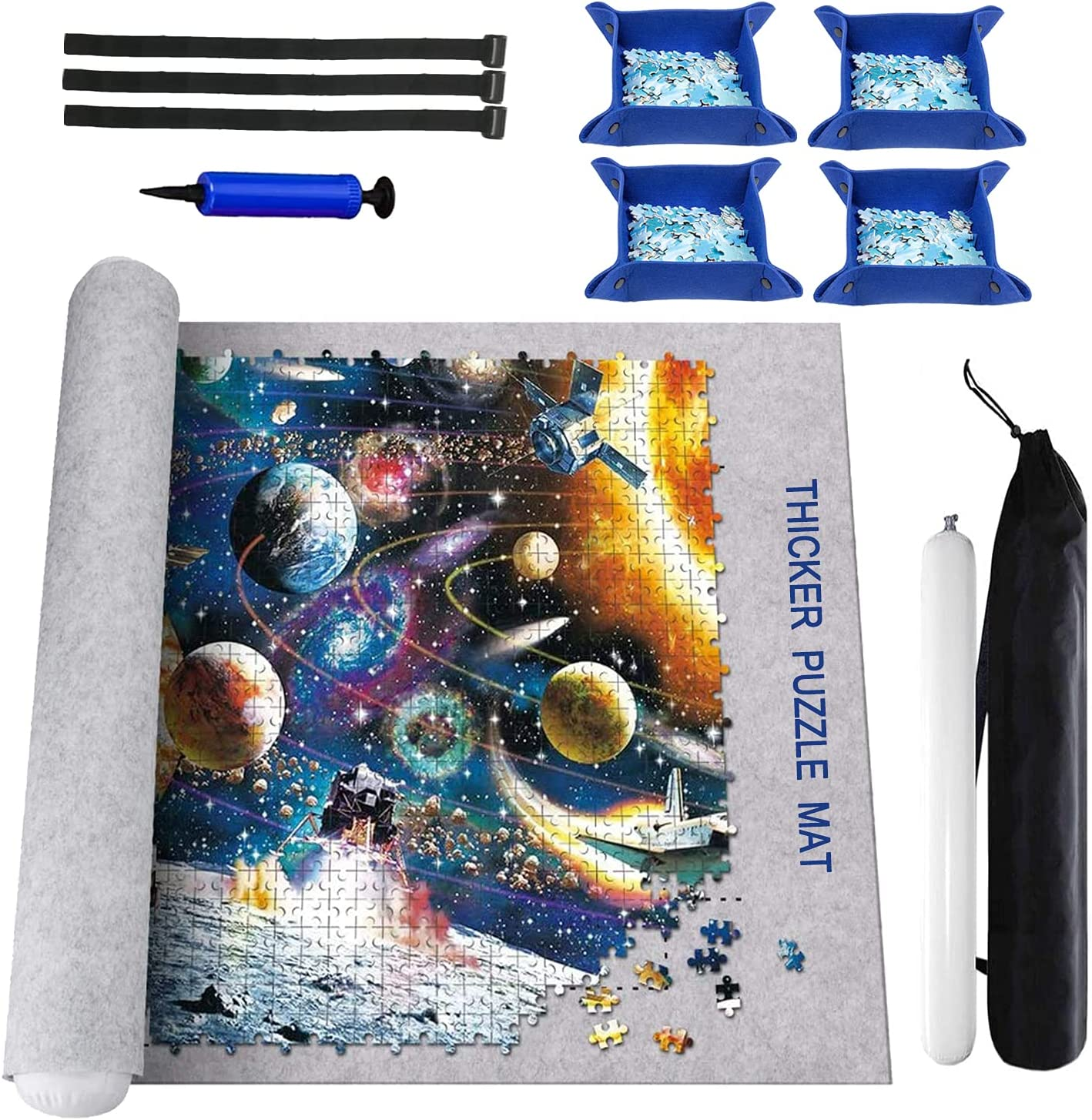 Puzzle Mat Roll Up 2000 Pieces, Puzzle Sorting Trays x 4, Puzzle Roll Up Mat Puzzle Saver Jigsaw Puzzle Mat Puzzle Board Mat Puzzle Mats Puzzle Mat 1000 Pieces Puzzle Mat Roll Up: Toys & Games