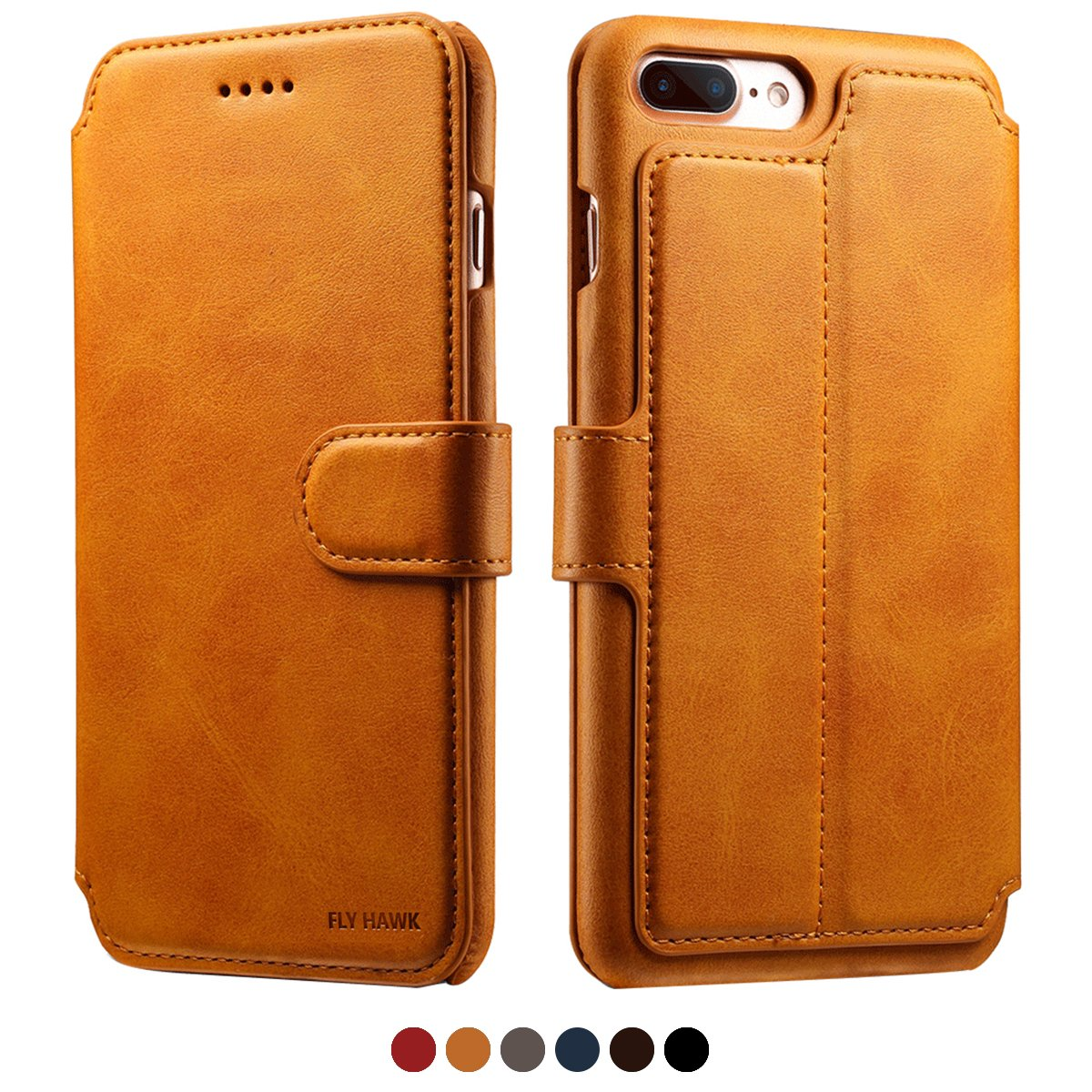 Leather Wallet Case with Card Slots iPhone 8 Plus Blue Flip Slim Shockproof Cover