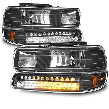 Amazon For Black Bezel 99 02 Chevy Silverado Headlights Replacement LED Bumper Signal Lights 4pcs Set Automotive