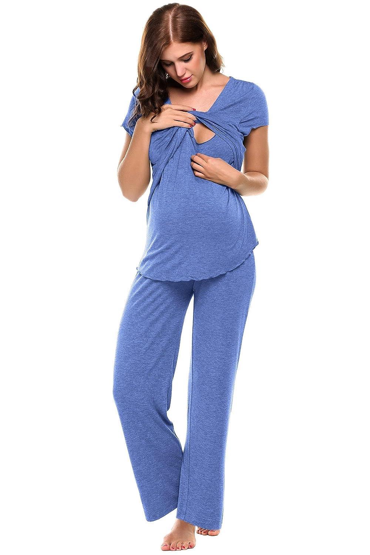 Ekouaer Women Maternity Nursing Pajama Set Crossing V-Neck Breastfeeding PJS