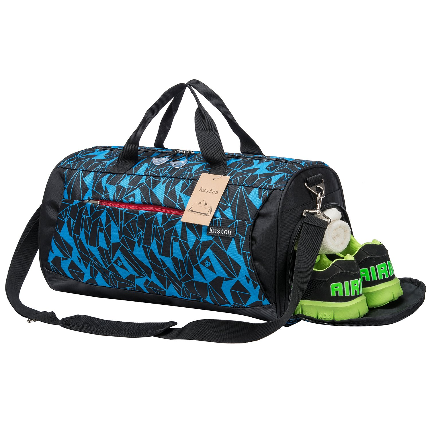 Kuston Sports Gym Bag with Shoes Compartment Travel Duffel Bag for Men and Women by Kuston