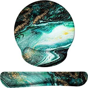 Anyshock Keyboard Wrist Rest and Ergonomic Mouse Pad with Wrist Support, Mouse Pad Set Memory Foam Filled Non Slip Base Easy Typing and Relieve Wrist Pain for Home/Office (Emerald Marble)