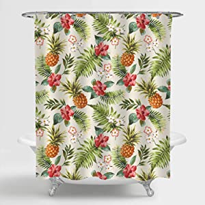 """MitoVilla Tropical Fruit Pineapple Shower Curtain for Vintage Bathroom Decor, Retro Hibiscus Flowers with Pineapples Bathroom Accessories, Pineapple Gifts for Women and Girls, Colorful, 72"""" W x 72"""" L"""