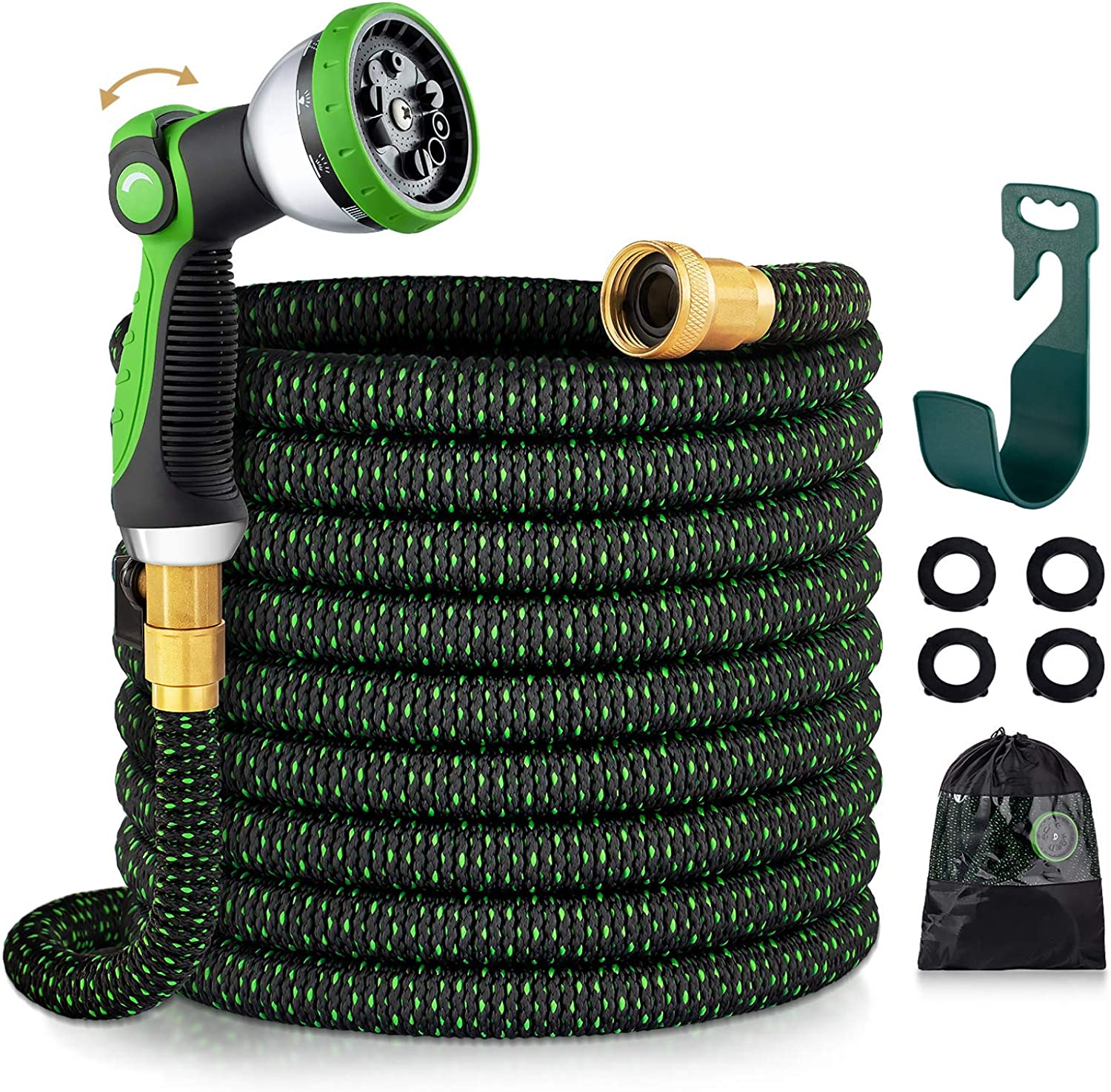 Ecoehoe 100 FT Expandable Garden Hose with Easy to Use Thumb Control Sprayer, Space Saving Hoses That Shrink, 3 Times Expandable Water Hoses for Lawns
