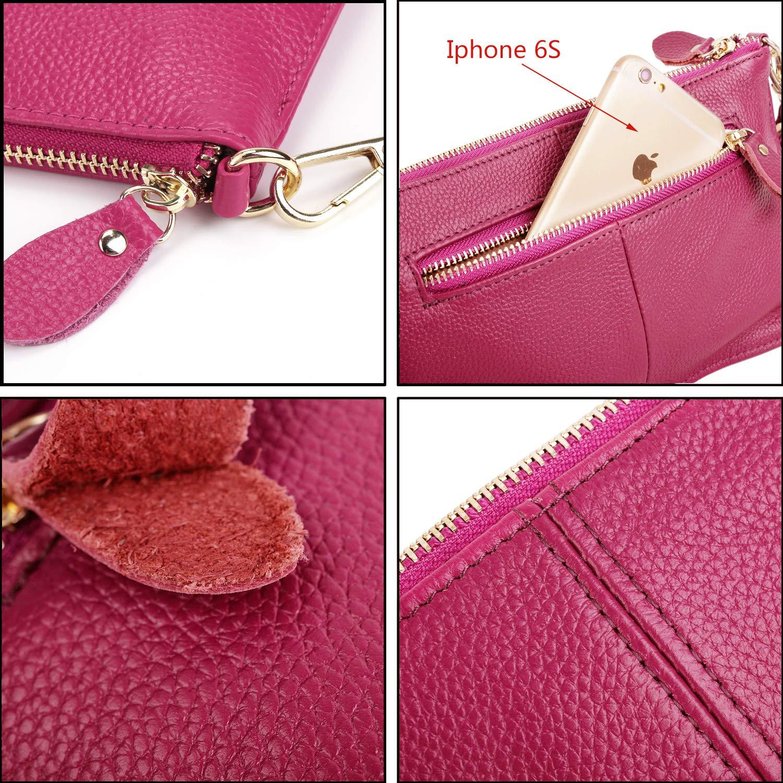 YALUXE Damarmband telefonkoppling plånbok avtagbar guld axel kedja äkta läder Rosa