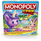 MONOPOLY Junior: Unicorn Edition Board Game for 2-4 Players, Magical-Themed Indoor Game for Kids Ages 5 and Up (Amazon Exclus