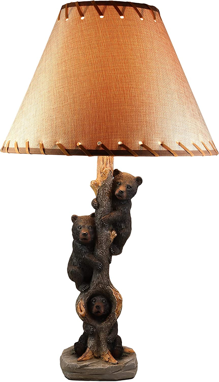 """Ebros Three Forest Musketeers Whimsical Black Bear Cubs Climbing Tree Table Lamp Statue with Burlap Shade 24""""High Wildlife Rustic Cabin Lodge Decor Forest Bears Family Desktop Lamps"""