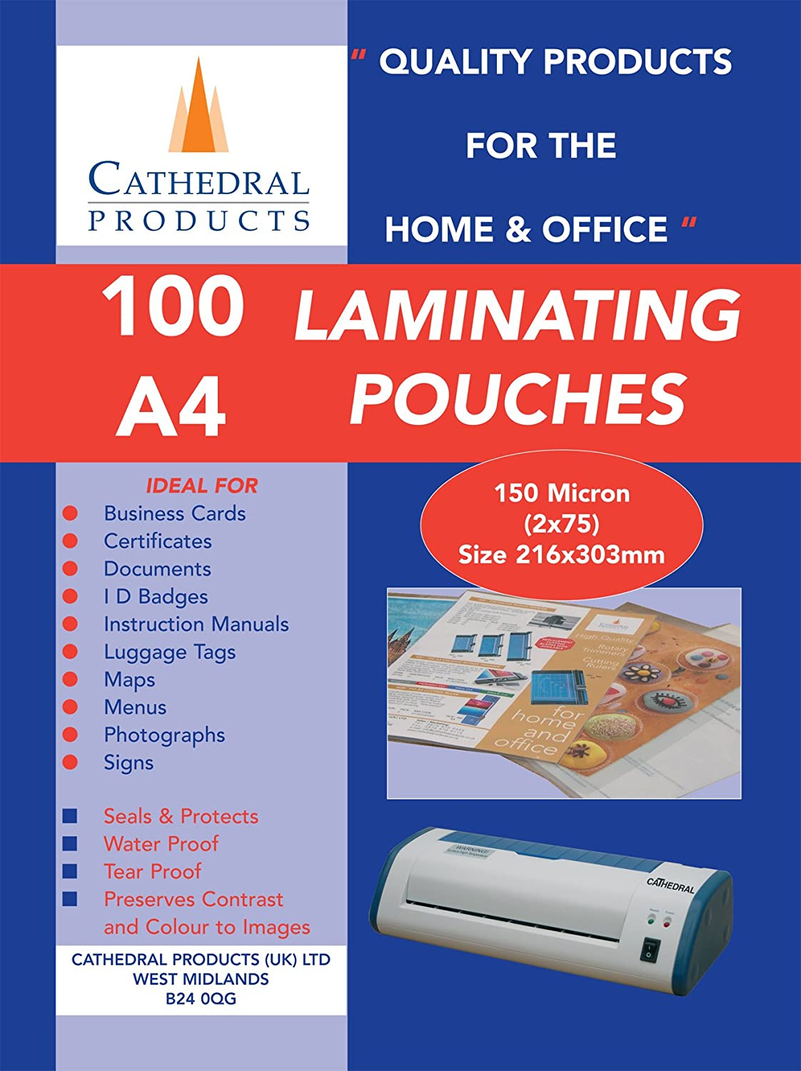 Cathedral Laminating Pouches 150 Micron, 100 Pack, A4: Amazon.co ...