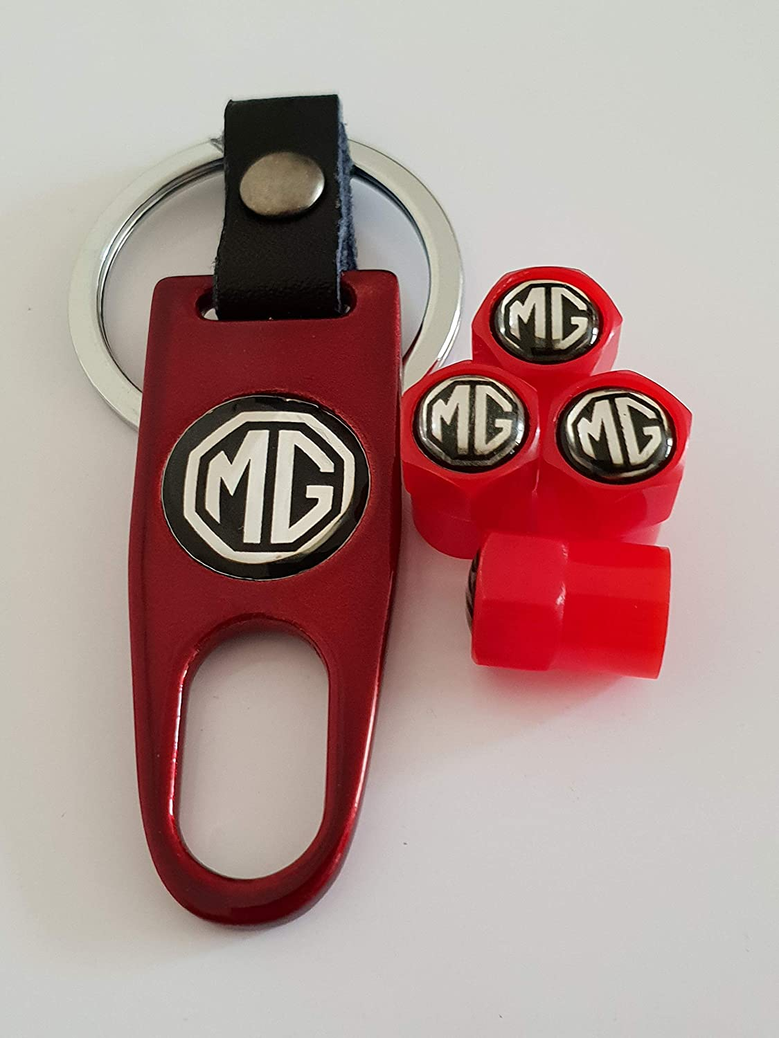 Speed Demons MG red Valve Dust Caps with Spanner Keychain Keyring for all models Plastic non Stick