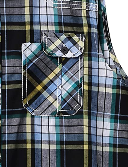 3bd85fdaac00 Mens Button Down Sleeveless Plaid Flannel Shirt Checkered Top at Amazon  Men s Clothing store