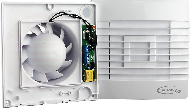 MKK Premium Jalousie Badl/üfter Lamellen Wandl/üfter /Ø 100 mm WC K/üche Wohn Ventilator L/üfter Einschaltverz/ögerung Nachlauf Timer