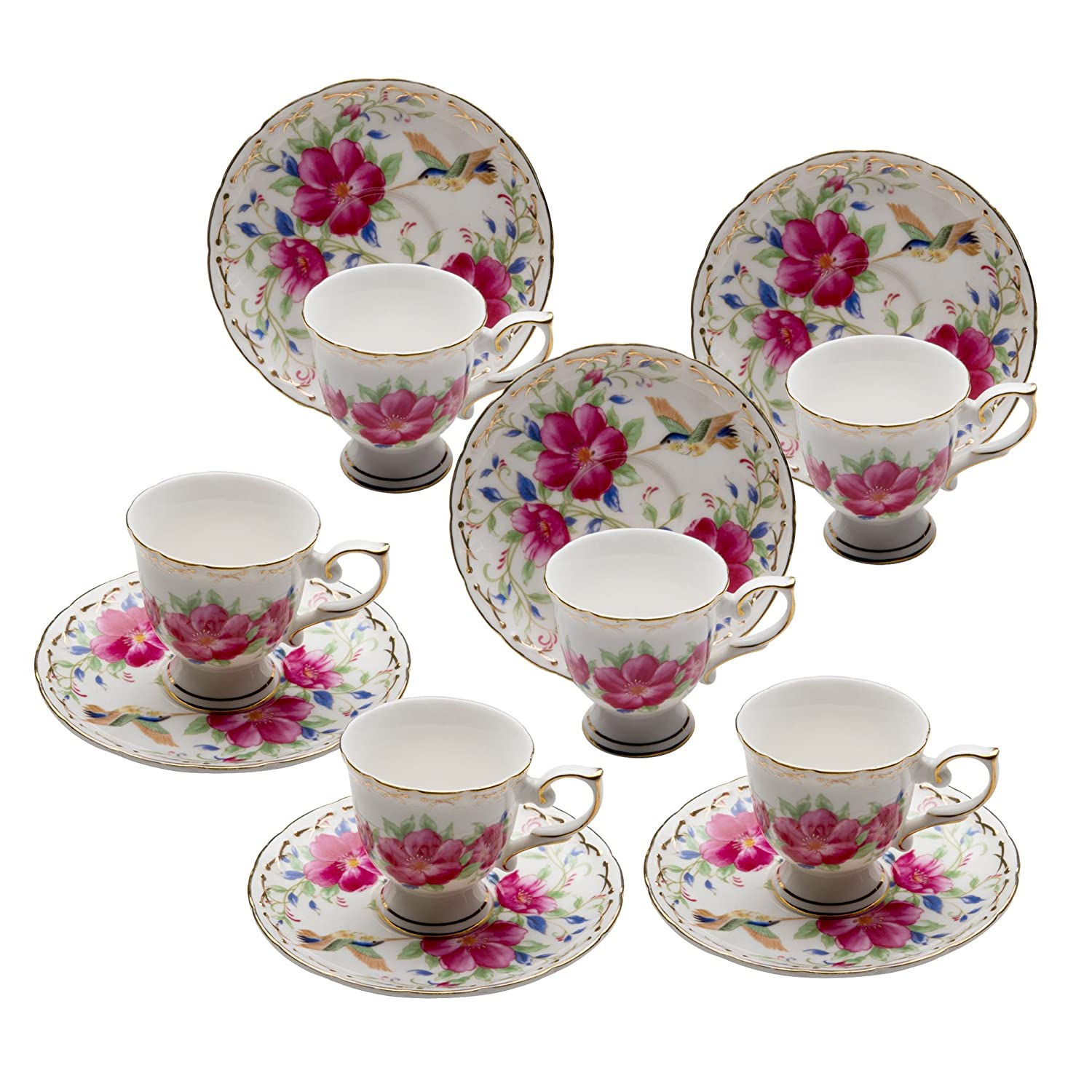 Grace Teaware Fine Porcelain Espresso Cup and Saucer Set of 6, 3-Ounce (Floral Hummingbird) 35331D/6