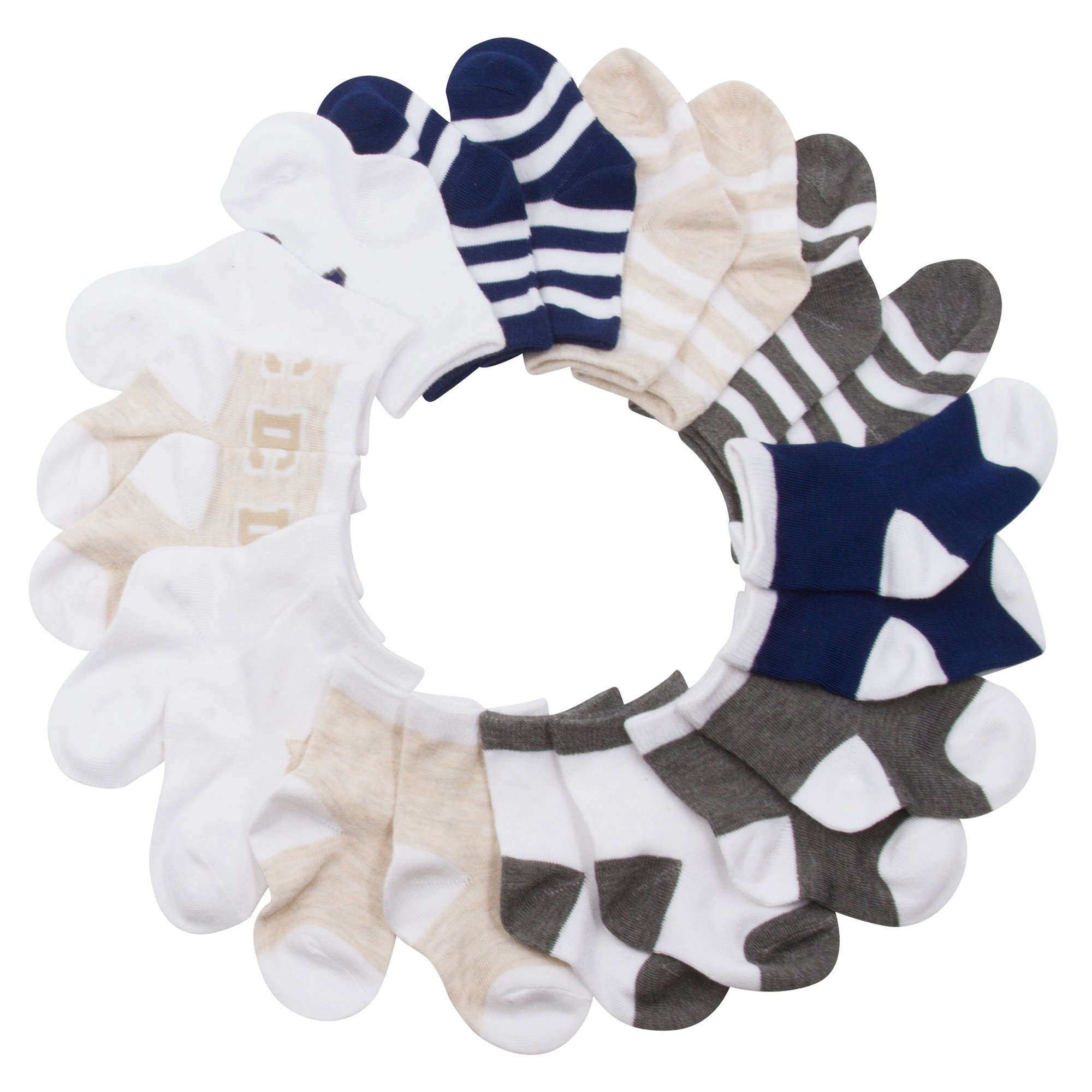 BARE HUGS Infant Boys 10 Pk All Weather Multicolored Low Cut Socks Light Stripes and Stars 6-12 Mos
