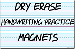 """Magnetic Dry Erase Writing Practice Whiteboard Sheet by AgilePacks 17"""" x 11"""" for Classrooms, Teachers, Fridge, Home Plus Magnetic Cleaning Cloth (2-Pack)"""