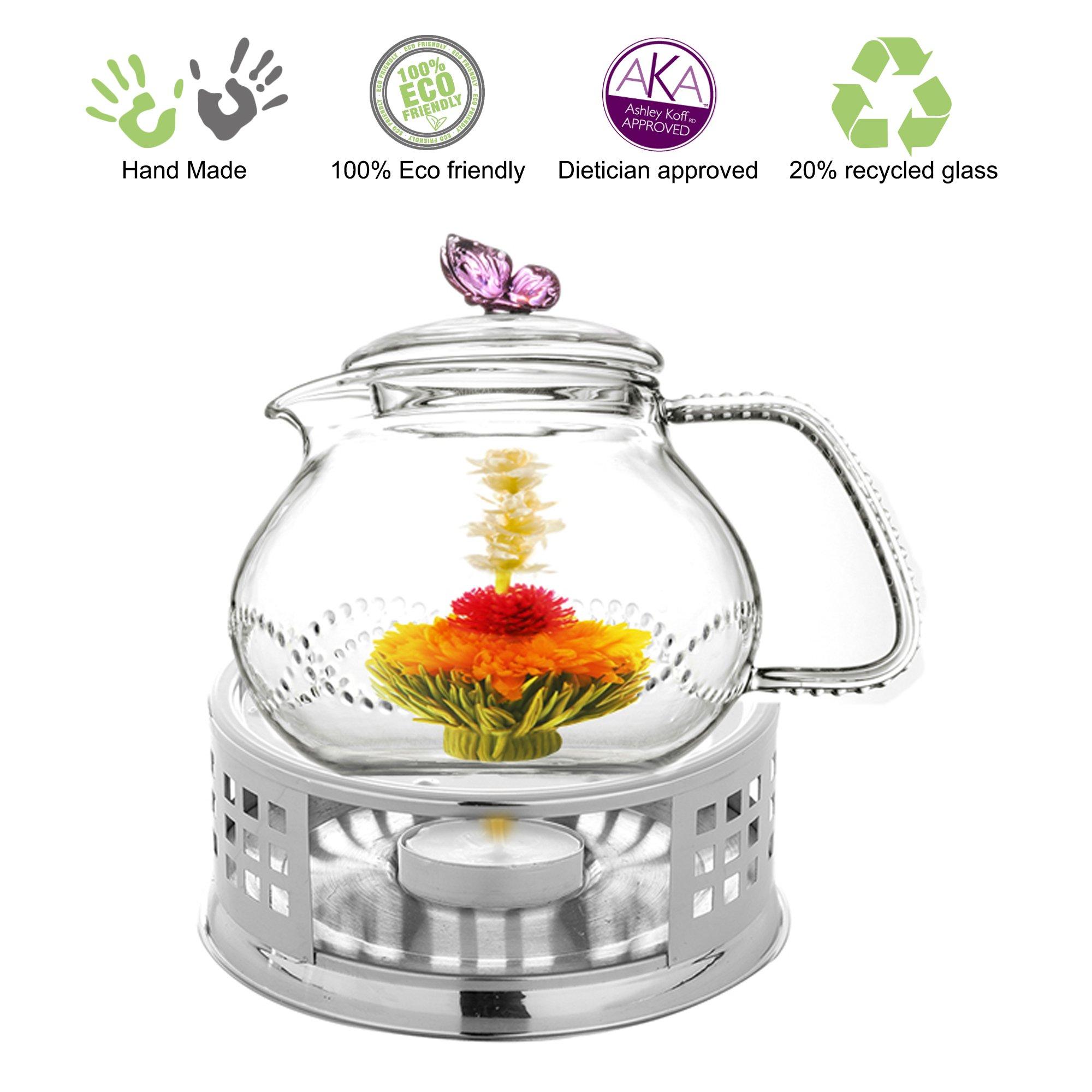 Teapot Set Teapot Pink Butterfly 24 Oz and Stainless Steel Tea Warmer Alex for Flowering Tea Green Tea Black Tea Puer by Tea Beyond