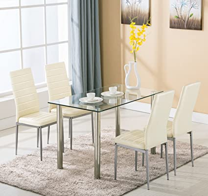 5 Piece Dining Table Set 4 Chairs Glass Metal Kitchen Room Breakfast  Furniture for 4 Family (5 pieces, white)