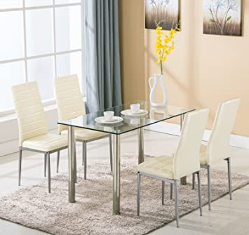 5 Piece Dining Table Set 4 Chairs Glass Metal Kitchen Room Breakfast  Furniture For 4 Family
