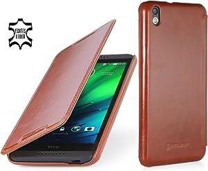 StilGut Housse UltraSlim, en style Book Type en cuir pour HTC Desire 816, en cognac