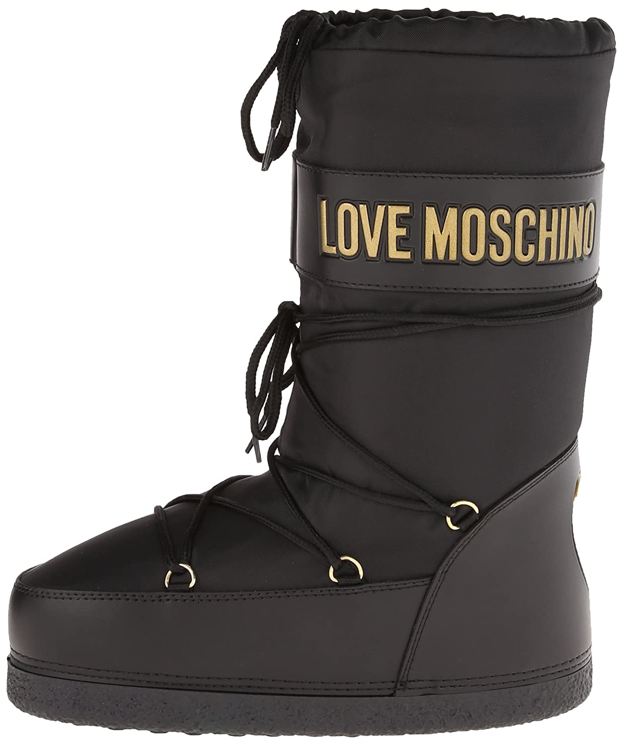 c54aa1737 Amazon.com | Love Moschino Women's Logo Nylon Snow, Black, 36 EU/5.5 ...