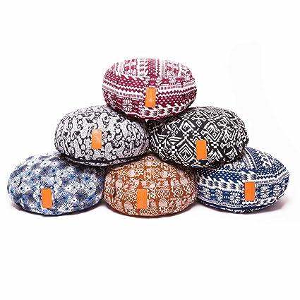 Saller Brahman Yoga Cojín con cremallera & bio de espelta (orgánico relleno – Tamaño: 42 x 15 cm – Ideal como base para cojín zafú de meditación ...