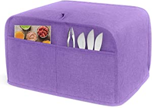 LUXJA 4 Slice Toaster Cover (12.5 x 10 x 8 inches), Toaster Cover with 2 Pockets (Fits for Most Major 4 Slice Toasters), Purple